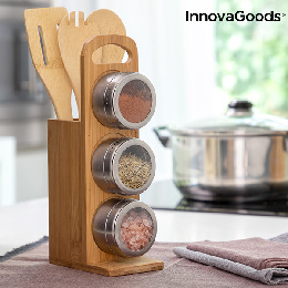 Set of Magnetic Spice Racks with Bamboo Utensils Bamsa InnovaGoods 7 Dele